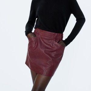 NWT Zara Size S Faux Leather Mini Skirt W Pockets